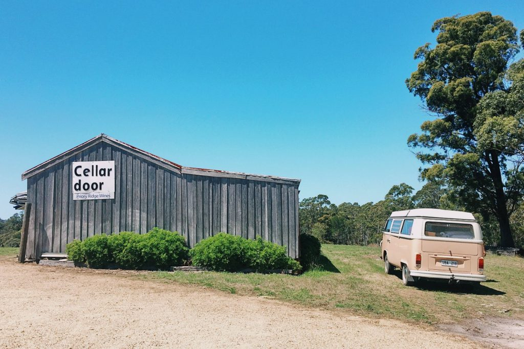 The rustic cellar door at Priory Ridge with Elise Cook