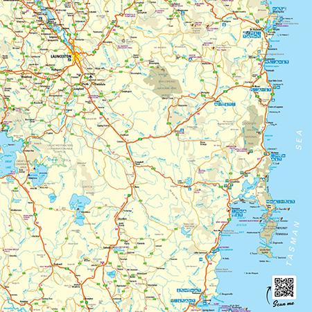 East Coast Tasmania Town and Tear Off Map
