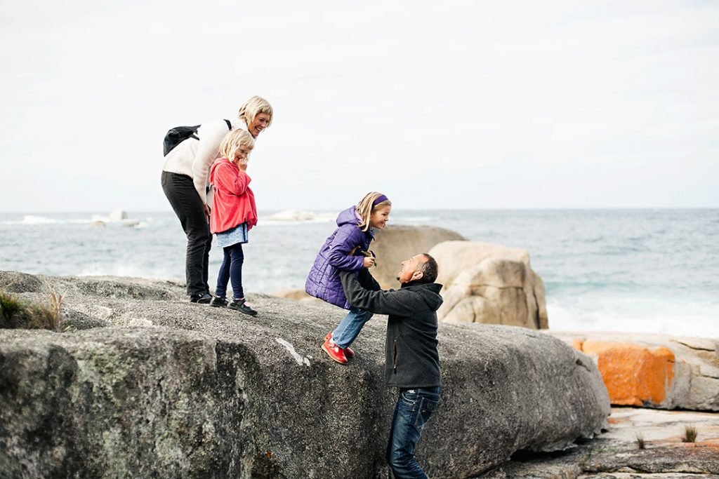 Things to do in Winter East Coast Tasmania - family fun at the Bay of Fires beach holiday